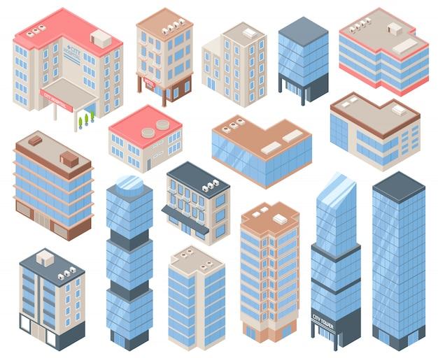 Stad gebouwen pictogrammenset Gratis Vector
