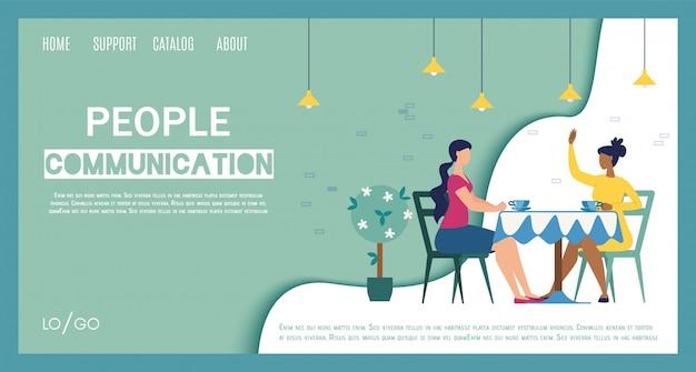 Stad gezellige coffeeshop platte website sjabloon Premium Vector