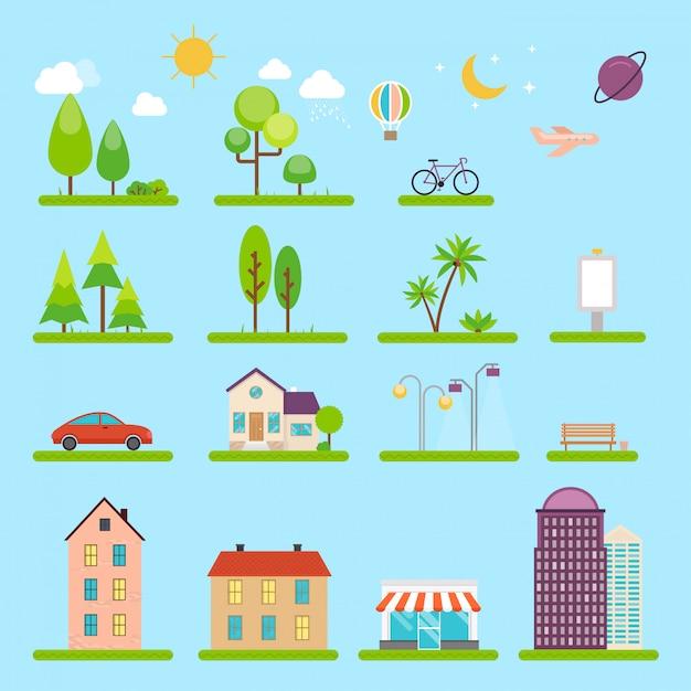 Stad illustratie in stijl. pictogrammen en illustraties met gebouwen, huizen en architectuurborden. ideaal voor zakelijke webpublicaties, grafisch. Premium Vector