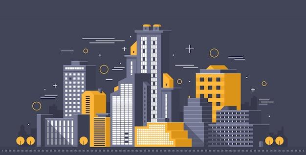 Stad illustratie. torens en gebouwen in moderne vlakke stijl op donkere achtergrond Premium Vector