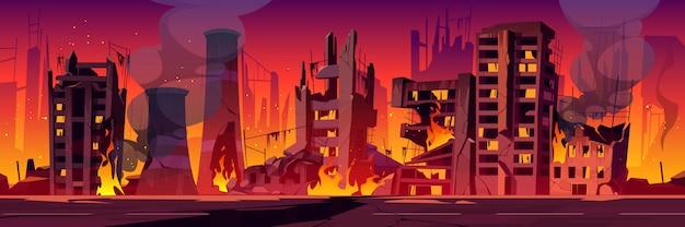 Stad in brand, oorlog vernietigt brandende kapotte gebouwen Gratis Vector