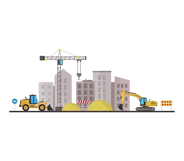 Stad in constructie Gratis Vector