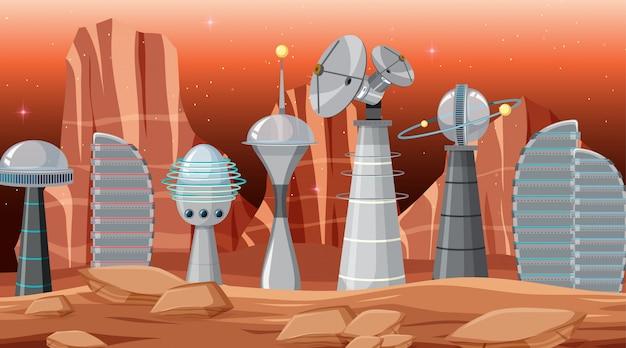 Stad in ruimtescène Gratis Vector