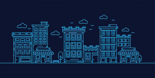 Stad lijn vector illustratie Premium Vector