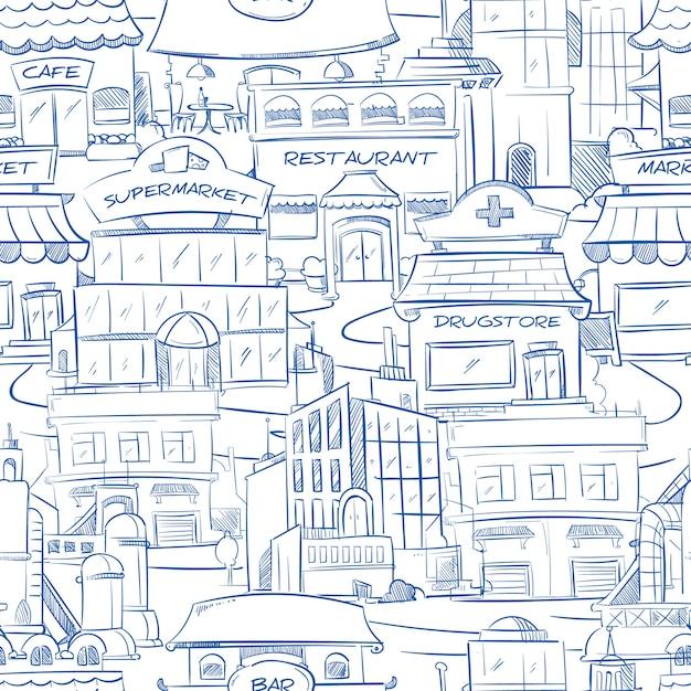 Stad met hand getrokken gebouwen Premium Vector