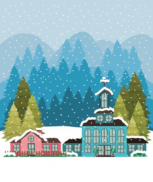 Stad met kerk in snowscape Gratis Vector