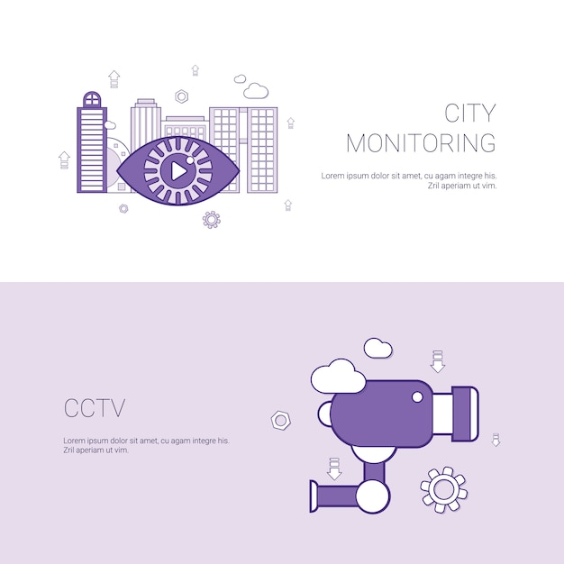 Stad monitoring en cctv concept sjabloon banner Premium Vector