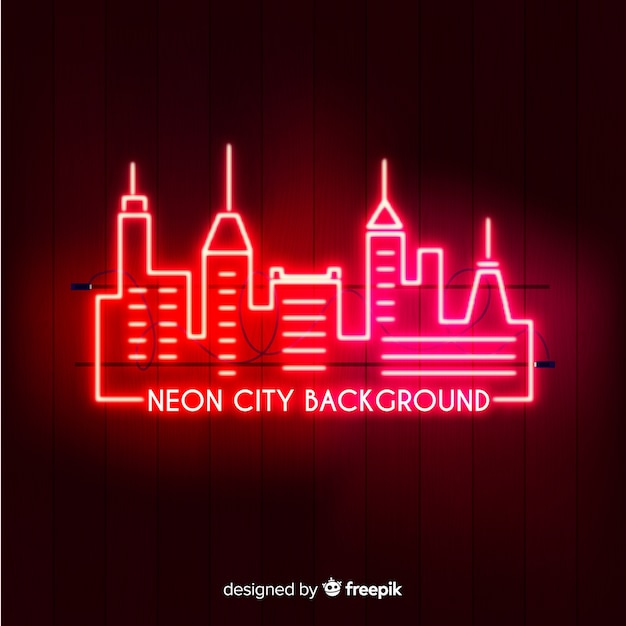 Stad neon achtergrond Gratis Vector