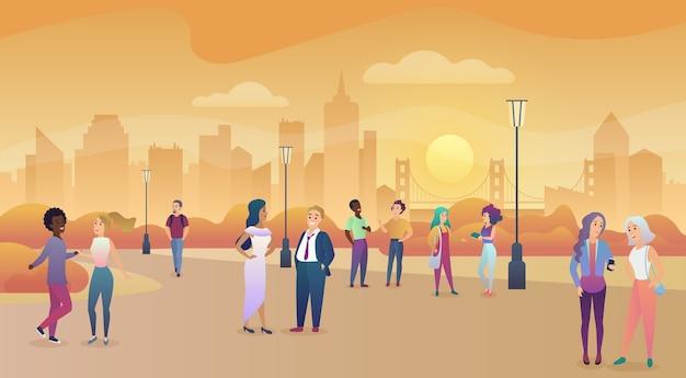 Stad openbaar park in zonsondergang. mensen communicatie, tijd illustratie genieten Premium Vector