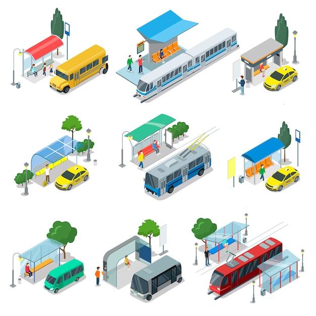 Stad openbaar vervoer isometrische 3d-set Premium Vector