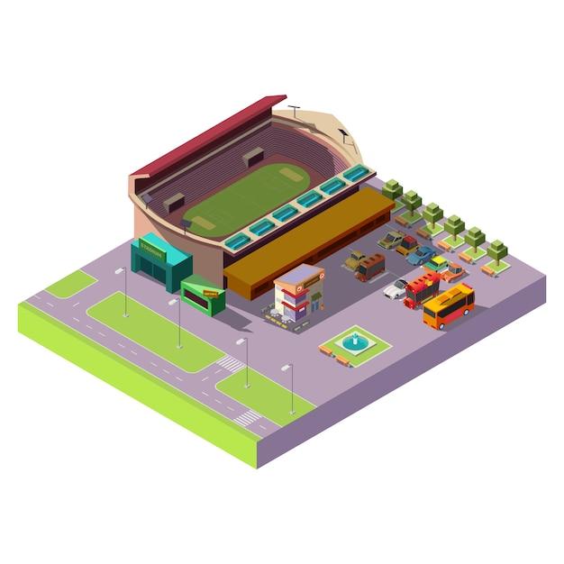 Stad openbare stadion 3d isometrische pictogram Gratis Vector