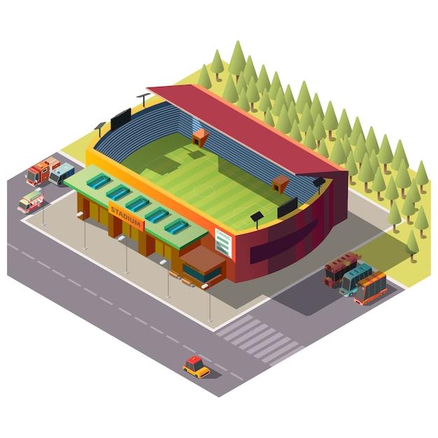 Stad openbare stadion isometrisch gebouw Gratis Vector