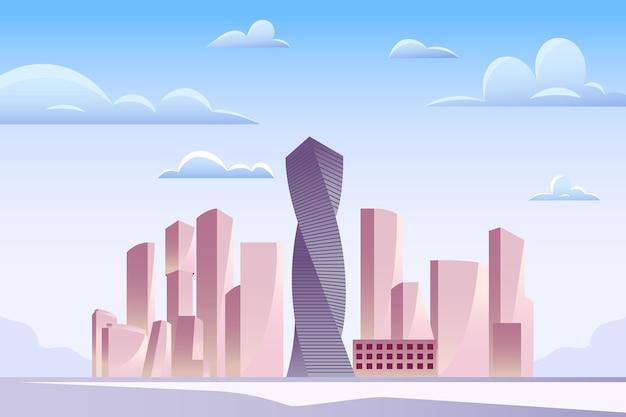 Stad oriëntatiepunten achtergrond voor videoconferenties Gratis Vector