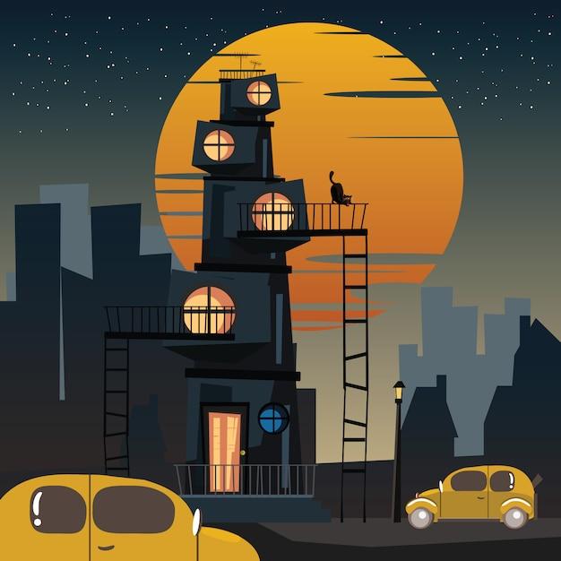 Stad 's nachts Premium Vector