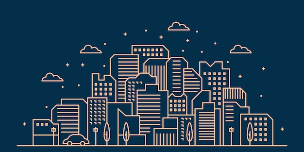 Stad skyline illustratie Premium Vector