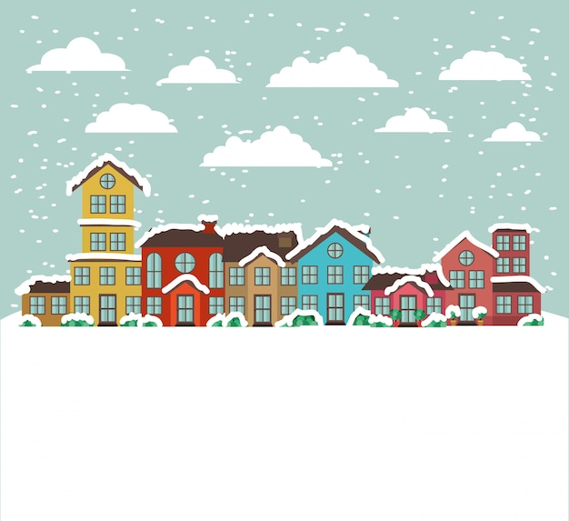 Stad stedelijk in snowscapescène Gratis Vector