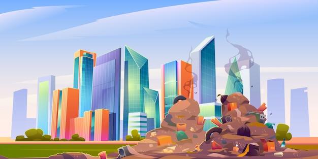 Stad stortplaats met stapel vuilnis, vuile autokerkhof Gratis Vector