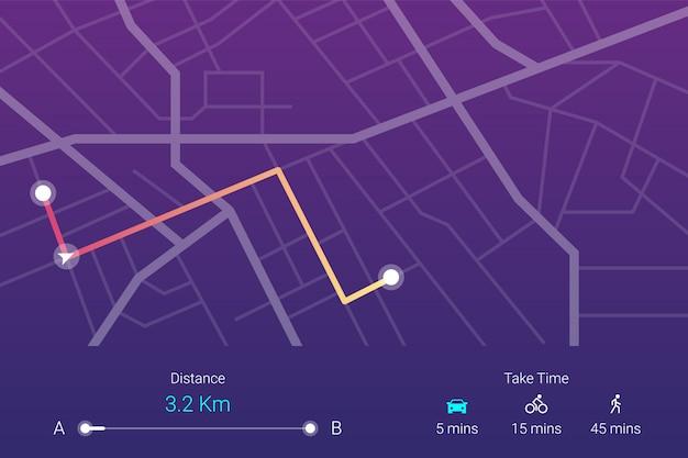 Stad street map navigatie Premium Vector