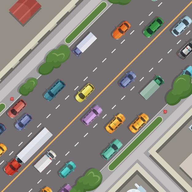 Stad weg met auto's met gebouwen Premium Vector