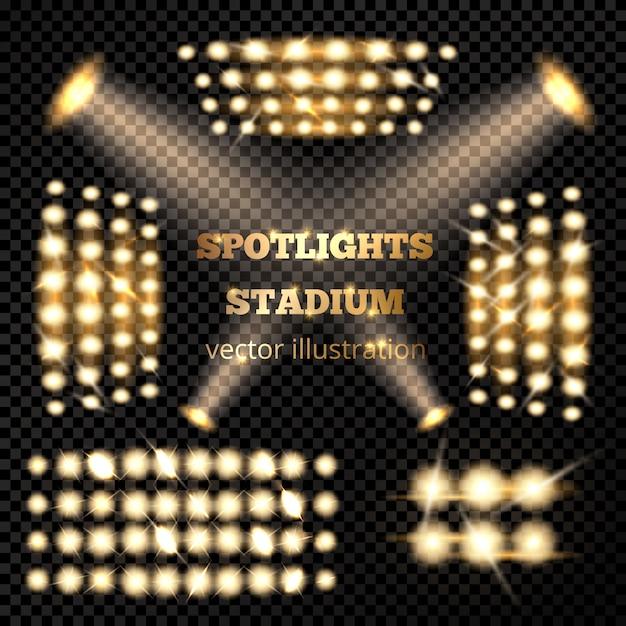 Stadion spots goud set Gratis Vector