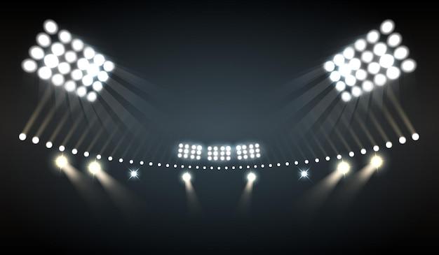 Stadionlichten realistisch met sport- en technologiesymbolen Gratis Vector