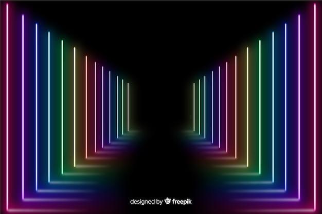 Stadium met kleurrijke neonlichtachtergrond Gratis Vector