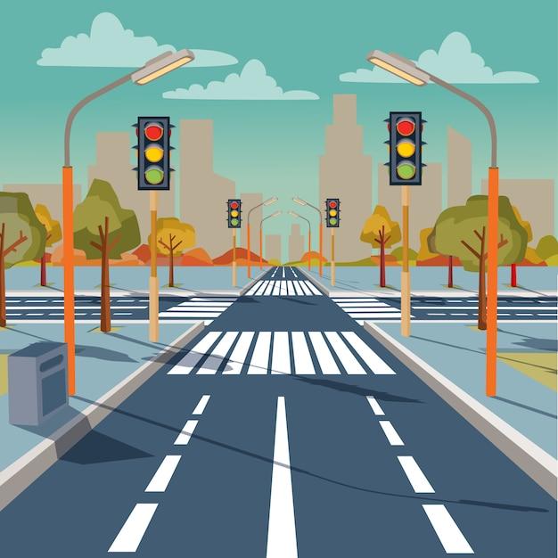 Stads kruispunt met verkeerslichten, wegmarkeringen, trottoir voor voetgangers Premium Vector
