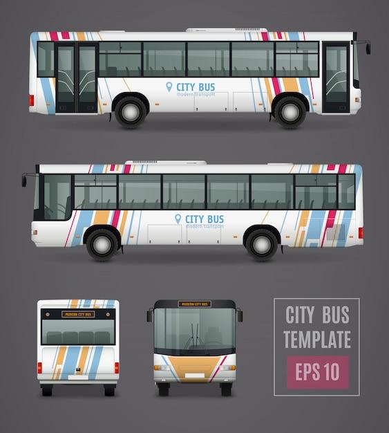 Stadsbusmalplaatje in realistische stijl Gratis Vector