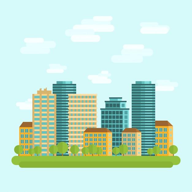 Stadscentrum midden flat Gratis Vector