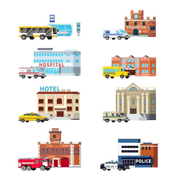 Stadsdiensten en gebouwen orthogonale verzameling Gratis Vector