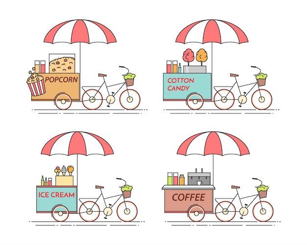 Stadselementen van koffie, popcorn, ijs, suikerspinfietsen. Premium Vector