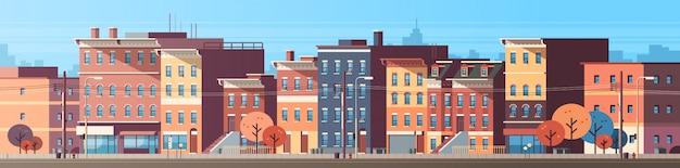 Stadsgebouw huizen bekijken skyline banner Premium Vector