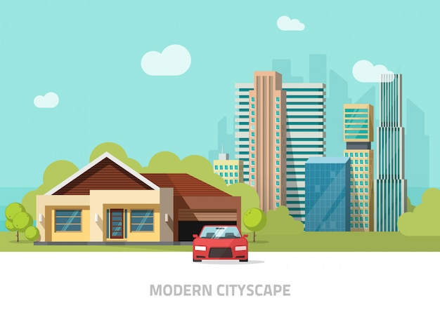 Stadsgebouwen achter cottage thuis vectorillustratie of moderne stadslandschap met wolkenkrabbers vlakke stijl Premium Vector
