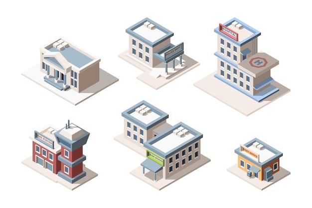 Stadsgebouwen isometrische 3d-illustraties instellen afbeelding Premium Vector