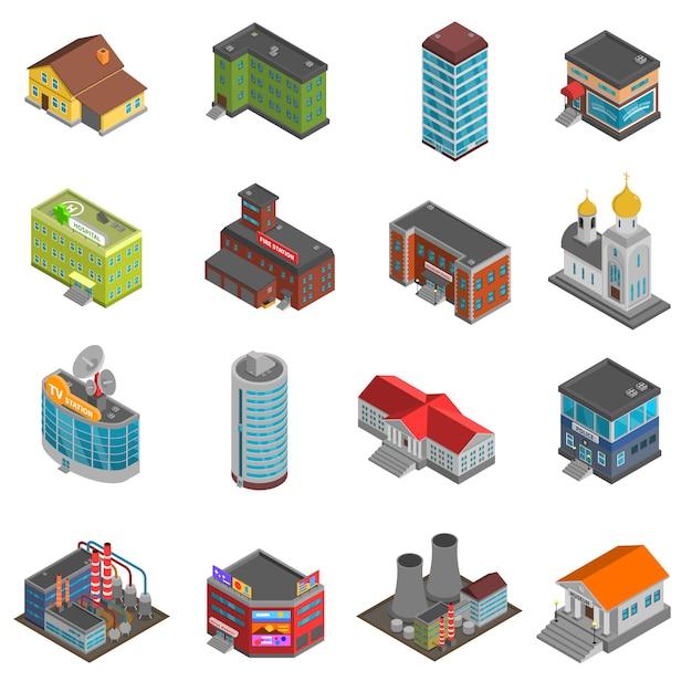 Stadsgebouwen isometrische pictogrammen instellen Gratis Vector