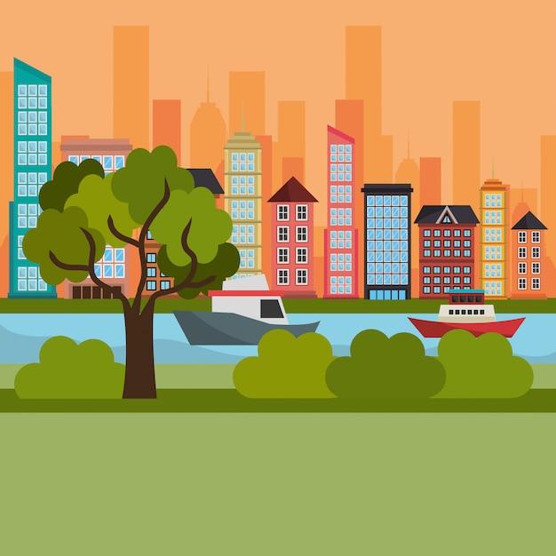 Stadsgezicht en rivierscène Gratis Vector