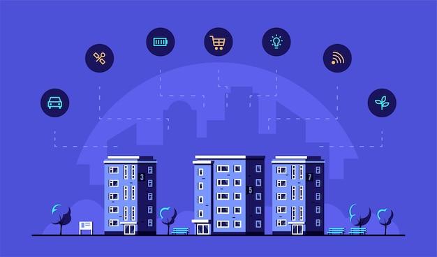 Stadsgezicht met moderne woonhuizen en pictogrammen. Premium Vector