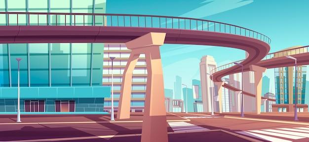 Stadsgezicht met wolkenkrabbers en viaduct snelweg Gratis Vector