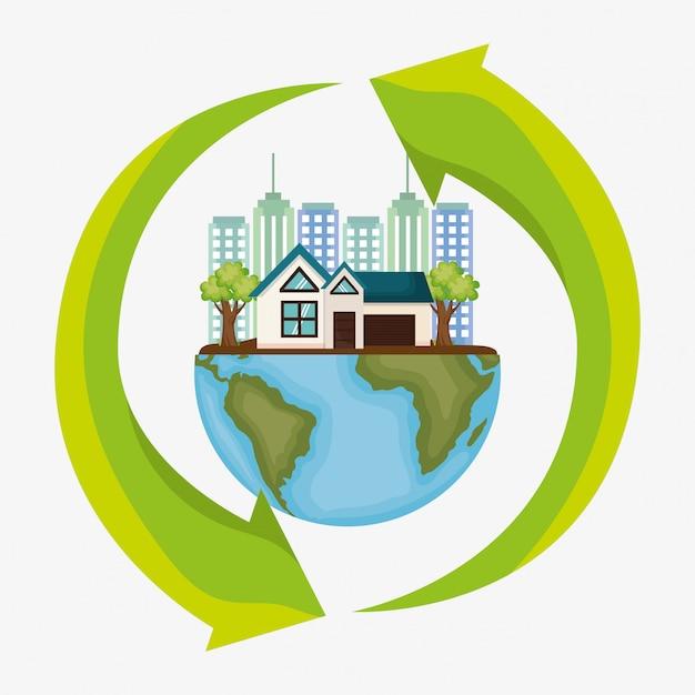 Stadsgezicht milieuvriendelijk Gratis Vector