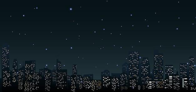 Stadshorizonnen 's nachts bij stedelijke scène Premium Vector
