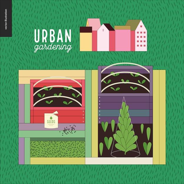 Stadslandbouw en tuinieren - zaaibedden Premium Vector