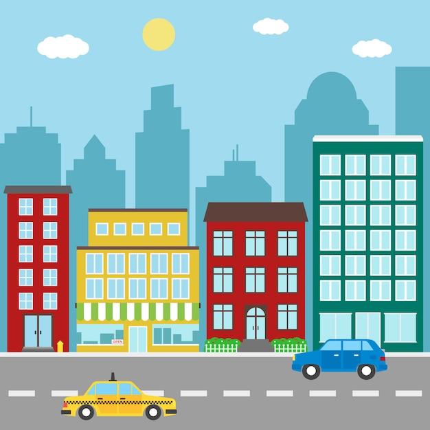 Stadslandschap met gebouwen, winkels, auto en taxi Premium Vector