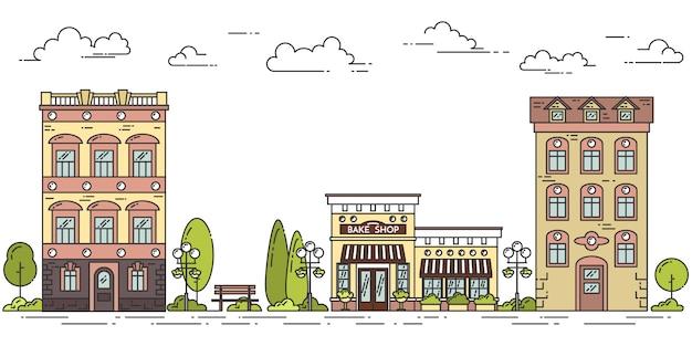 Stadslandschap met huizen, koffie, bomen, wolken. vector illustratie. platte lijntekeningen. Premium Vector