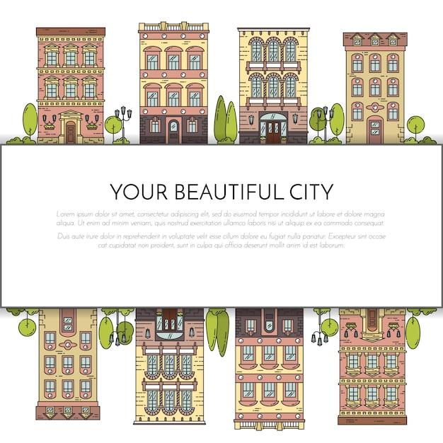 Stadslandschap met huizen, park, bomen, wolken. vector illustratie. platte lijntekeningen. Premium Vector