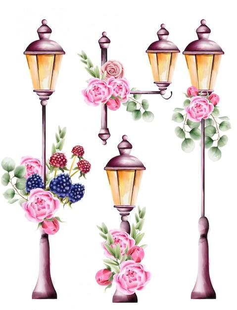 Stadslichten versierd met roze bloem en groene bladeren Premium Vector