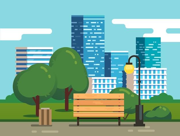Stadspark met bank en binnenstad wolkenkrabbers Gratis Vector
