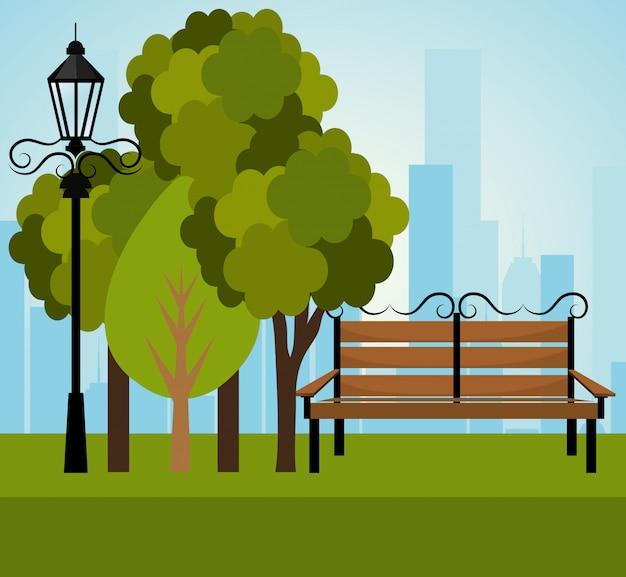 Stadspark ontwerp. Gratis Vector