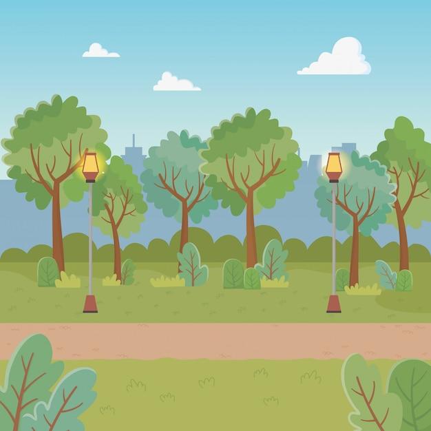 Stadspark scène met lantaarns Gratis Vector