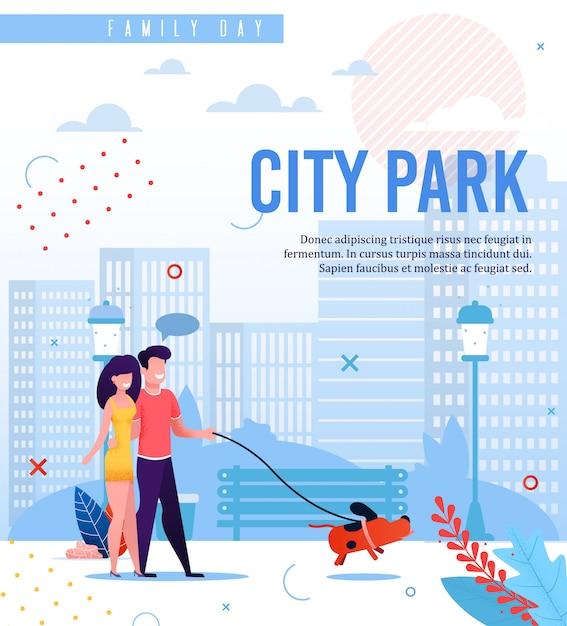 Stadsparkwandeling op familiedag. tekstsjabloon Premium Vector