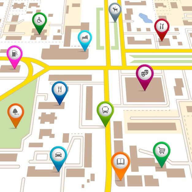 Stadsplattegrond met pinpointers met de locatie van verschillende diensten zoals de theatergarage hotel ziekenhuis supermarkt restaurant park hondenuitlaatservice bus bibliotheek en parkeerplaats Premium Vector